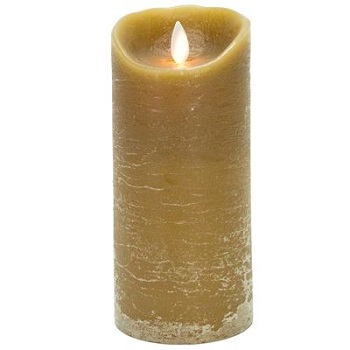 Flameless Pillar Candle - Mystique LED - Taupe - 7in x 3.25in
