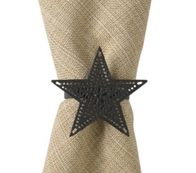 "Napkin  Ring - ""Black Star Napkin Ring"""