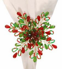 "Napkin Ring  - ""Red & Green Bead Napkin Ring"""