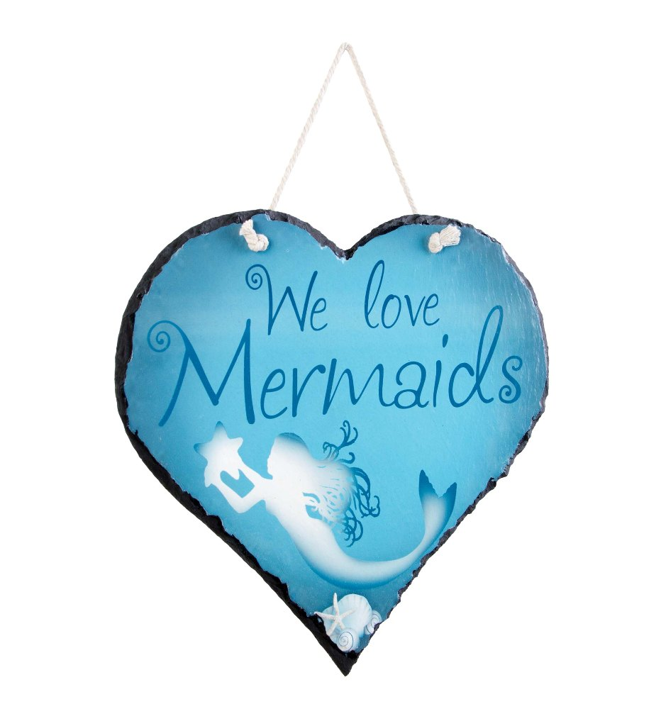 "Nautical Wall Decor - ""We Love Mermaids Slate"""