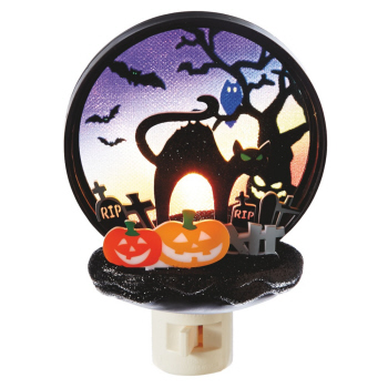 "Night Light - ""Jack Lantern With Black Cat Night Light"""