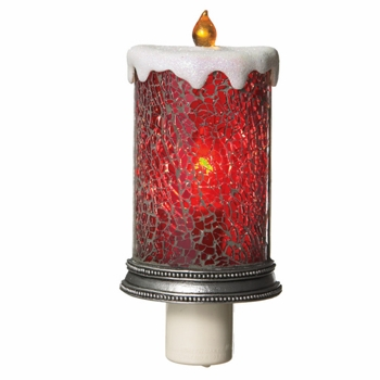 "Night Light - ""Red Mosiac Candle Night Light"""