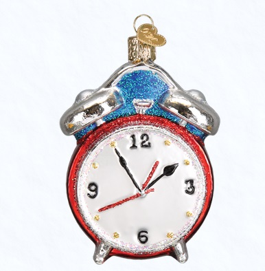 "Old World Christmas Glass Ornament - ""Alarm Clock"""