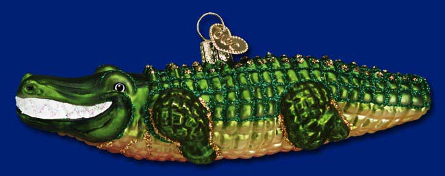 "Old World Christmas Glass Ornament  - ""Alligator"""