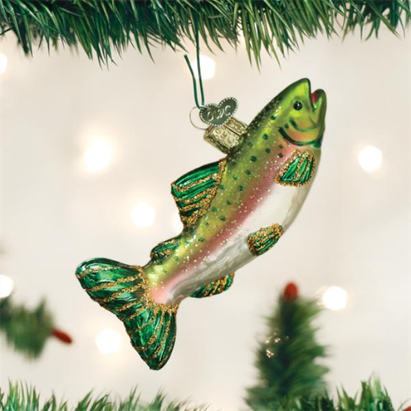 "Old World Christmas Glass Ornament - ""Alpine Rainbow Trout"""