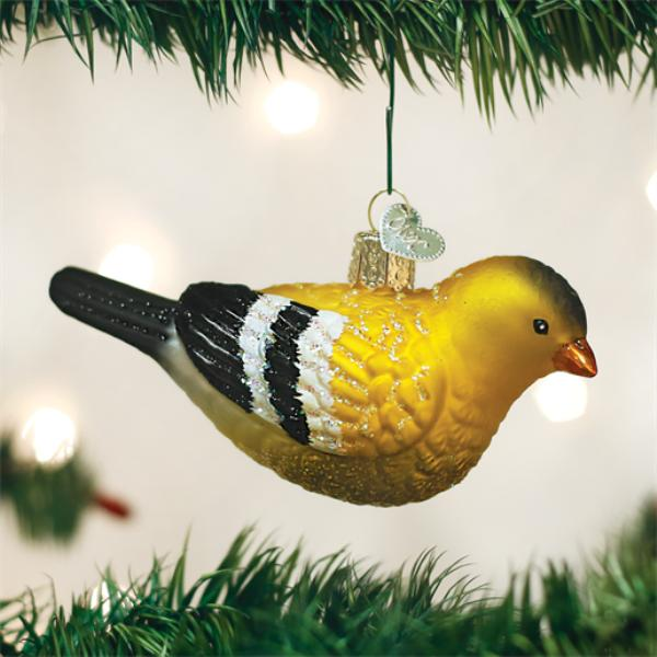 "Old World Christmas Glass Ornament - ""American Goldfinch"""