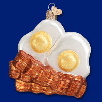 "Old World Christmas Glass Ornament - ""Bacon And Eggs"""