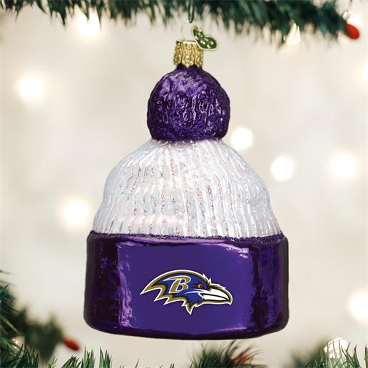"Old World Christmas Glass Ornament - ""Baltimore Ravens Beanie"""