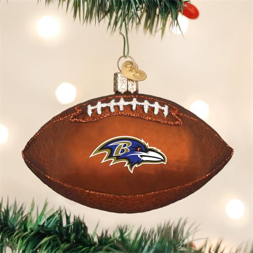 "Old World Christmas Glass Ornament - ""Baltimore Ravens Football"""