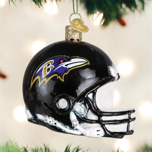 "Old World Christmas Glass Ornament - ""Baltimore Ravens Helmet"""
