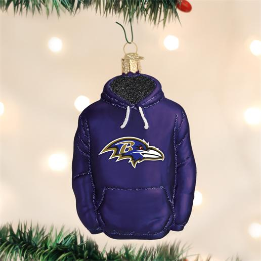 "Old World Christmas Glass Ornament - ""Baltimore Ravens Hoodie"""