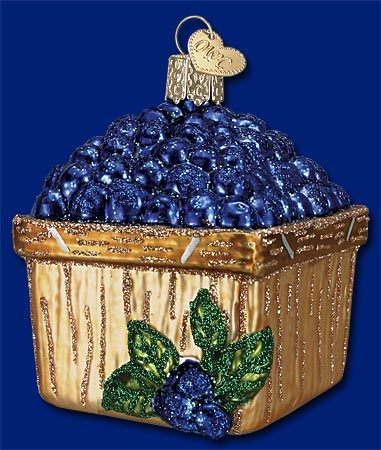"Old World Christmas Glass Ornament - ""Basket Of Blueberries"""