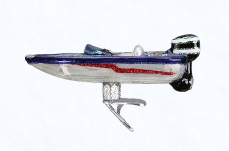"Old World Christmas Glass Ornament - ""Bass Boat"""