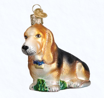 "Old World Christmas Glass Ornament - ""Basset Hound"""