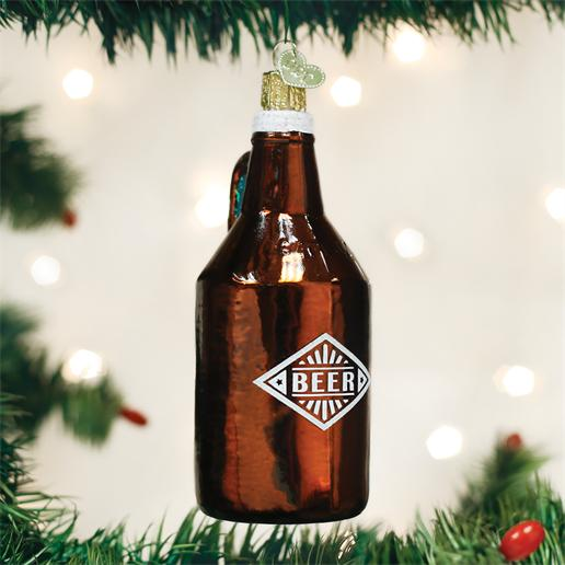 "Old World Christmas Glass Ornament - ""Beer Growler"""