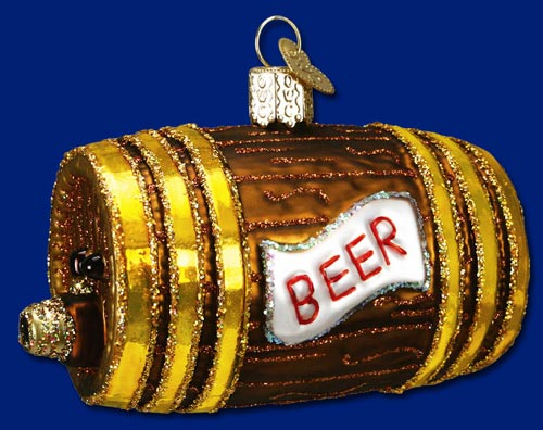 "Old World Christmas Glass Ornament -  ""Beer Keg"""
