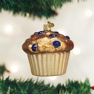 "Old World Christmas Glass Ornament - ""Blueberry Muffin"""