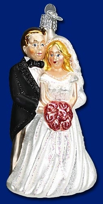 "Old World Christmas Glass Ornament - ""Bridal Couple Glass Ornament"""