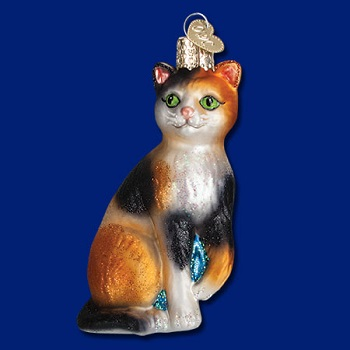"Old World Christmas Glass Ornament - ""Calico Cat"""