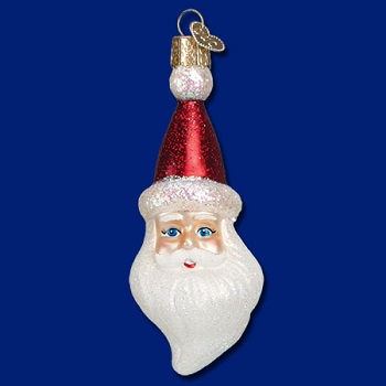 "Old World Christmas Glass Ornament - ""Cheerful Santa Head"""