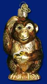 "Old World Christmas Glass Ornament - ""Chimpanzee"""