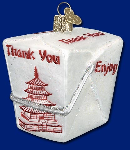 "Old World Christmas Glass Ornament - ""Chinese Take-Out"""