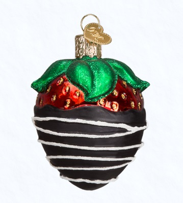 """Old World Christmas Glass Ornament - """"Chocolate Dipped Strawberry"""""""