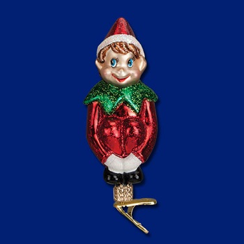 """Old World Christmas Glass Ornament - """"Christmas Pixie On A Clip"""""""