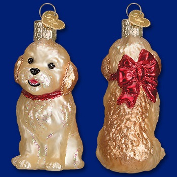 "Old World Christmas Glass Ornament - ""Cockapoo Puppy"""