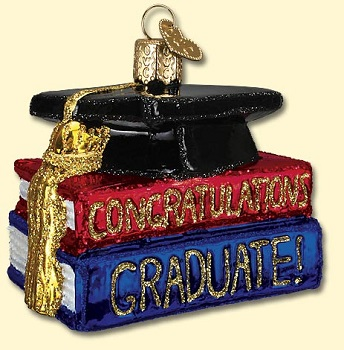 "Old World Christmas Glass Ornament - ""Congrats Graduate"""