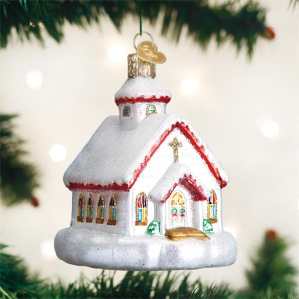 """Old World Christmas Glass Ornament - """"Country Church"""""""