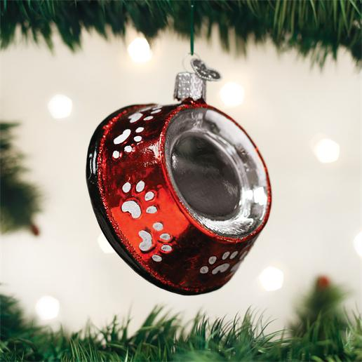 "Old World Christmas Glass Ornament - ""Dog Bowl"""
