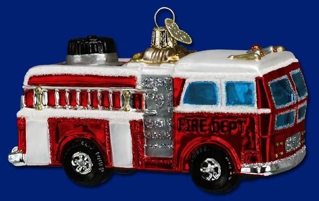 """Old World Christmas Glass Ornament - """"Fire Truck"""""""