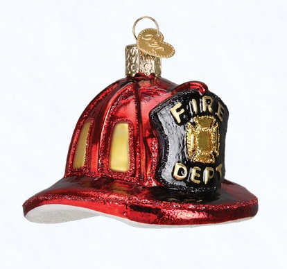 "Old World Christmas Glass Ornament - ""Fireman's Helmet"""