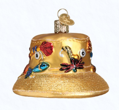 """Old World Christmas Glass Ornament - """"Fisherman's Hat"""""""