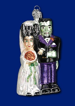 "Old World Christmas Glass Ornament - ""Frankenstein/Bride"""