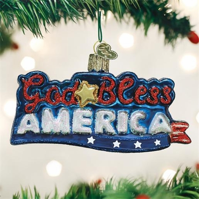 "Old World Christmas Glass Ornament - ""God Bless America"""