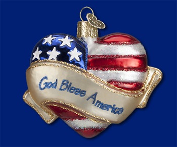 "Old World Christmas Glass Ornament - ""God Bless America Heart"""
