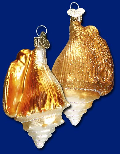 "Old World Christmas Glass Ornament - ""Golden Seashell"""