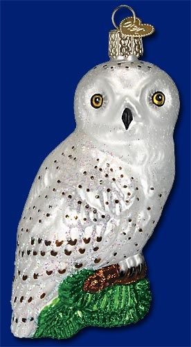 "Old World Christmas Glass Ornament  - ""Great White Owl"""