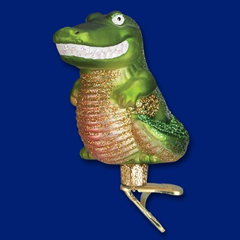 "Old World Christmas Glass Ornament - ""Happy Gator"""