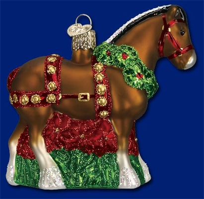 """Old World Christmas Glass Ornament  - """"Holiday Clydesdale"""""""