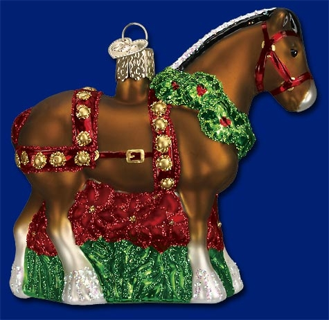 "Old World Christmas Glass Ornament  - ""Holiday Clydesdale"""