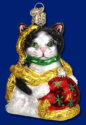 """Old World Christmas Glass Ornament  - """"Holiday Kitten"""""""