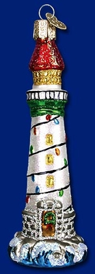 "Old World Christmas Glass Ornament  - ""Holiday Lighthouse"""