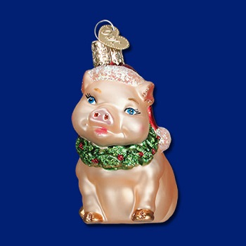 "Old World Christmas Glass Ornament - ""Holly Pig"""