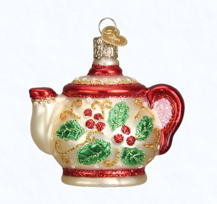 "Old World Christmas Glass Ornament - ""Holly Teapot"""