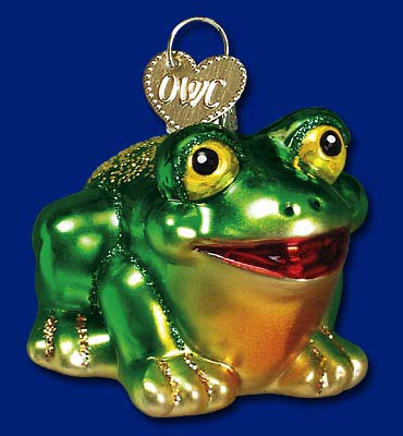 "Old World Christmas Glass Ornament - ""Hop-Along Frog"""