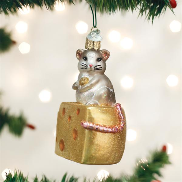 """Old World Christmas Glass Ornament - """"Hungry Mouse"""""""