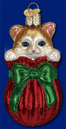 "Old World Christmas Glass Ornament - ""Letting The Cat Out Of The Bag"""